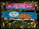 Live Your Dreams theme for painted benches