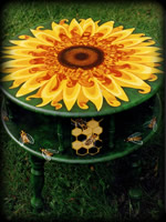 Sunflowers theme for hand painted tables