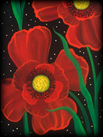 Poppies theme for painted furniture